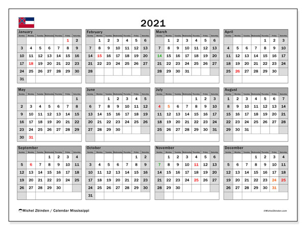2021 Calendar, with the Mississippi holidays. Holidays calendar to print free.