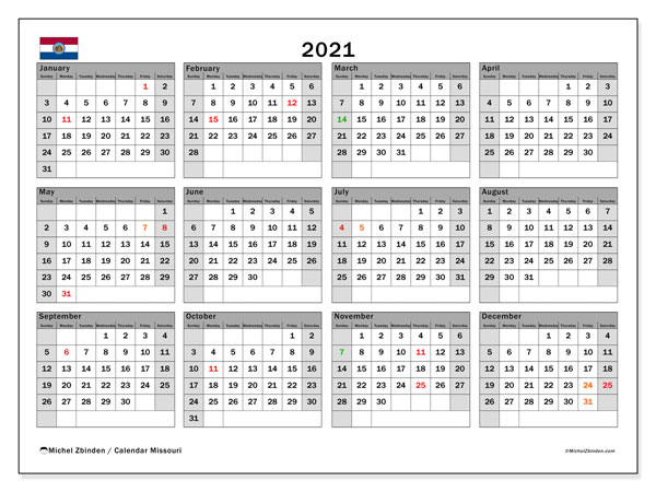 2021 Calendar, with the holidays of Missouri. Free printable calendar with public holidays.