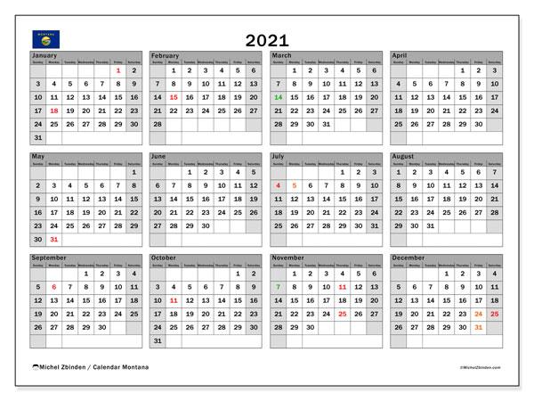 2021 Calendar, with the holidays of Montana. Free printable calendar with public holidays.