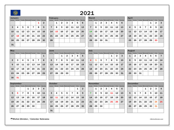 2021 Calendar, with the holidays of Nebraska. Holidays calendar to print free.
