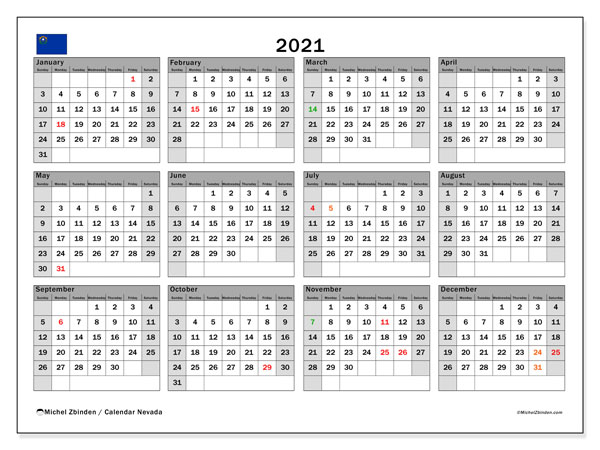 2021 Calendar, with the holidays of Nevada. Free printable calendar with public holidays.