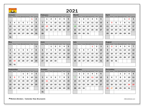 2021 Calendar, with the holidays of New Brunswick. Free printable calendar with public holidays.