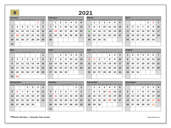 2021 Calendar, with the holidays of New Jersey. Holidays calendar to print free.