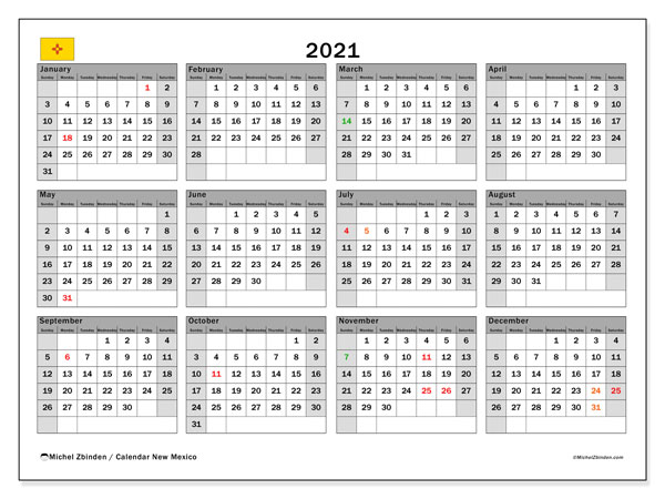 2021 Calendar, with the holidays of New Mexico. Free printable calendar with public holidays.
