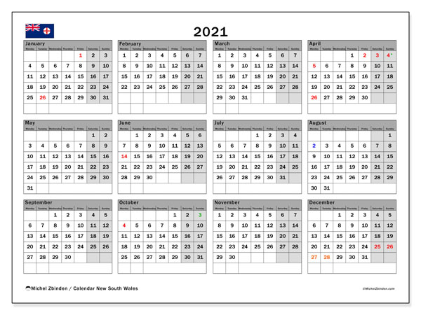 2021 Calendar, with the holidays of New South Wales. Free printable calendar with public holidays.