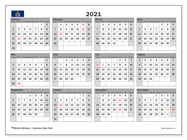 2021 Calendar, with the holidays of New York. Free printable calendar with public holidays.