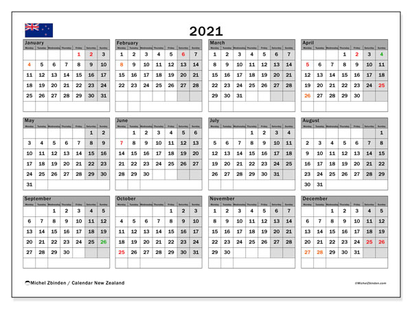 2021 Calendar, with the holidays of New Zealand. Holidays calendar to print free.