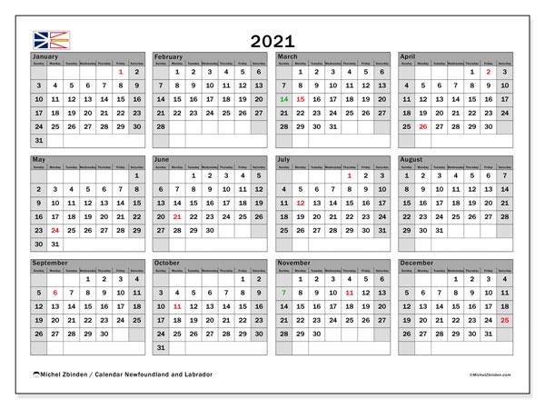 2021 Calendar, with the holidays of Newfoundland and Labrador. Free printable calendar with public holidays.
