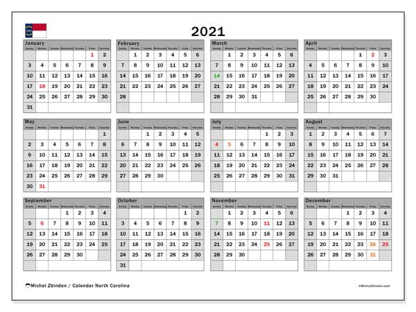 2021 Calendar, with the holidays of North Carolina. Free printable calendar with public holidays.