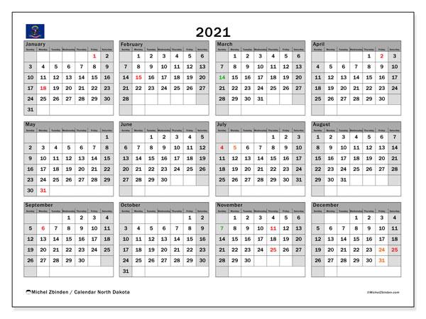 2021 Calendar, with the holidays of North Dakota. Free printable calendar with public holidays.