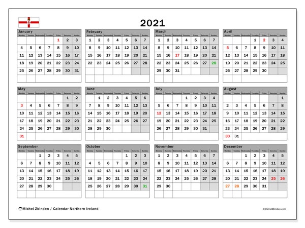 2021 Calendar, with the holidays of Northern Ireland. Holidays calendar to print free.