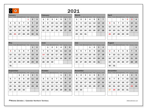 "Printable ""Northern Territory"" calendar with public holidays. Annual 2021 calendar and agenda to print free"
