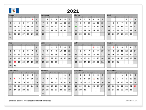 2021 Calendar, with the holidays of Northwest Territories. Holidays calendar to print free.