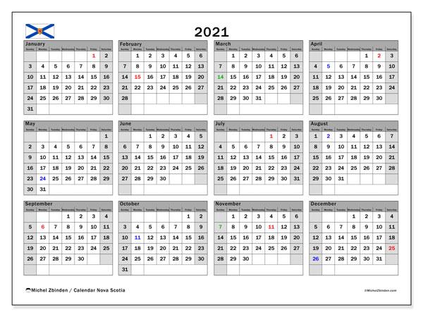 2021 Calendar, with the holidays of Nova Scotia. Free printable calendar with public holidays.
