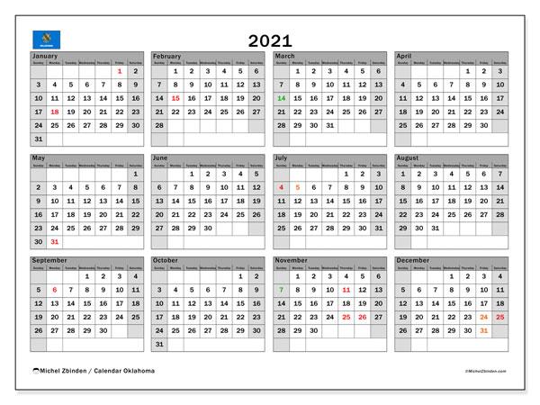 2021 Calendar, with the holidays of Oklahoma. Free printable calendar with public holidays.