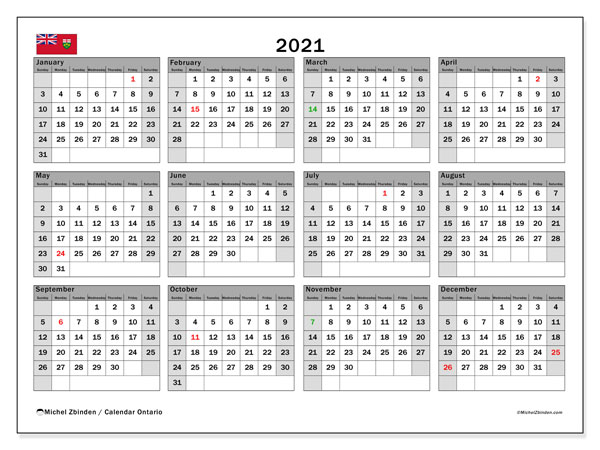 2021 Calendar, with the holidays of Ontario. Free printable calendar with public holidays.