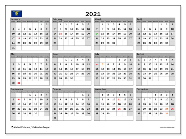 2021 Calendar, with the holidays of Oregon. Holidays calendar to print free.