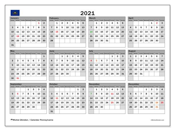 2021 Calendar, with the holidays of Pennsylvania. Free printable calendar with public holidays.