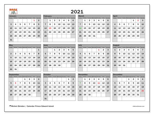 2021 Calendar, with the holidays of Prince Edward Island. Holidays calendar to print free.