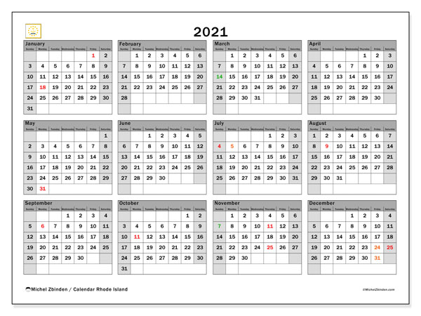 2021 Calendar, with the holidays of Rhode Island. Free printable calendar with public holidays.