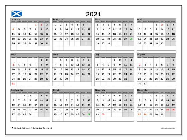 2021 Calendar, with the holidays of Scotland. Free printable calendar with public holidays.