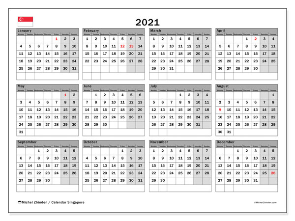 2021 Calendar, with the holidays of Singapore. Free printable calendar with public holidays.