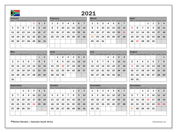 "Printable ""South Africa"" calendar with public holidays. Annual 2021 calendar and planner to print free"