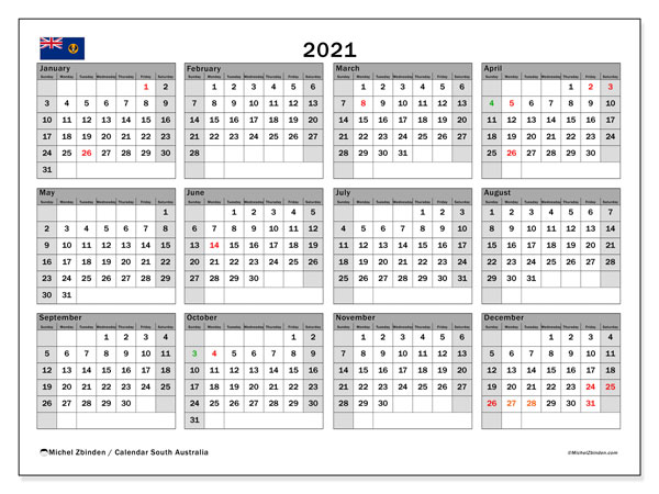 "Printable ""South Australia (SS)"" calendar with public holidays. Annual 2021 calendar and timetable to print free"
