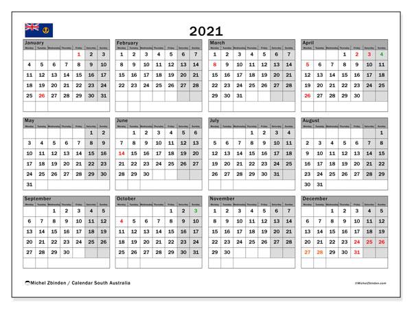 2021 Calendar, with the holidays of South Australia. Holidays calendar to print free.
