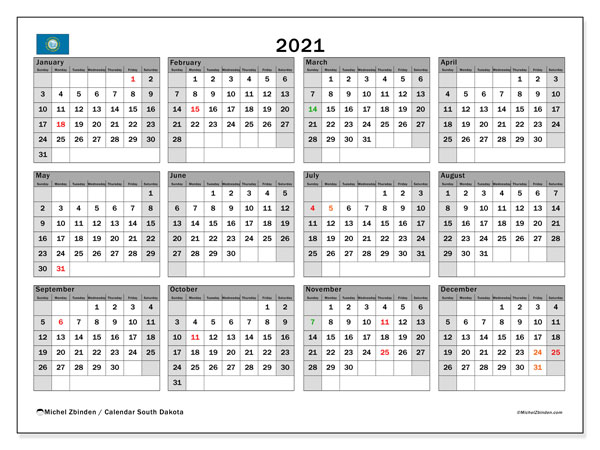 2021 Calendar, with the holidays of South Dakota. Holidays calendar to print free.