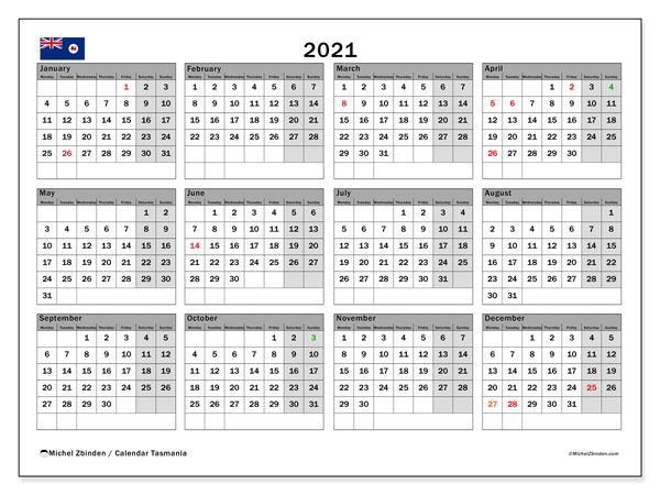 "Printable ""Tasmania"" calendar with public holidays. Annual 2021 calendar and free schedule to print"