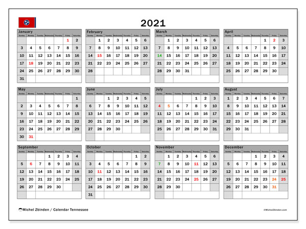 Annual Calendar 2021 - Tennessee. Public Holidays. Annual Calendar and agenda to print free.