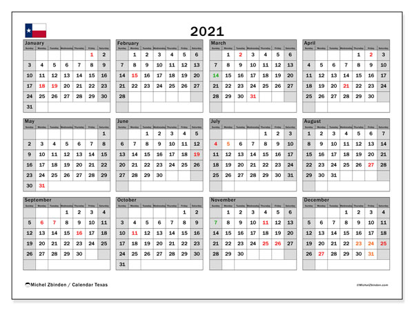 2021 Calendar, with the holidays of Texas. Free printable calendar with public holidays.