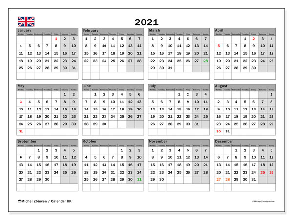 "Printable 2021 ""UK"" Calendar   Michel Zbinden EN"