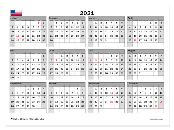 "Calendar ""USA"" with public holidays, 2021, ready to print."