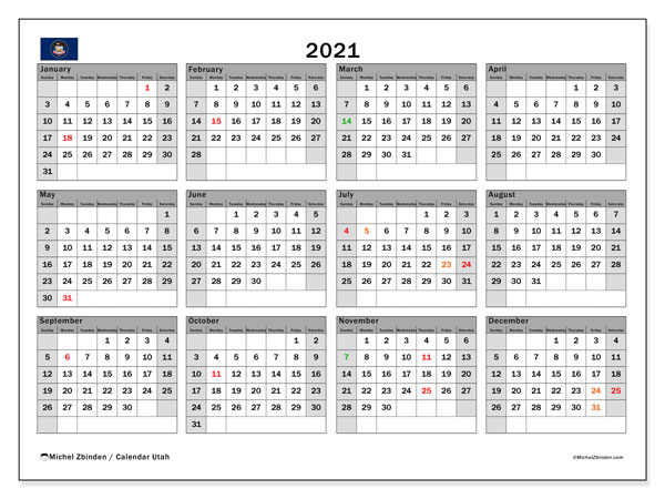 2021 Calendar, with the holidays of Utah. Free printable calendar with public holidays.