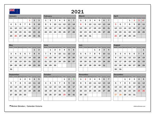 "Printable 2021 ""Victoria"" Calendar - Michel Zbinden EN"