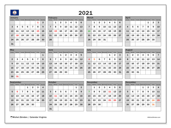 2021 Calendar, with the holidays of Virginia. Holidays calendar to print free.