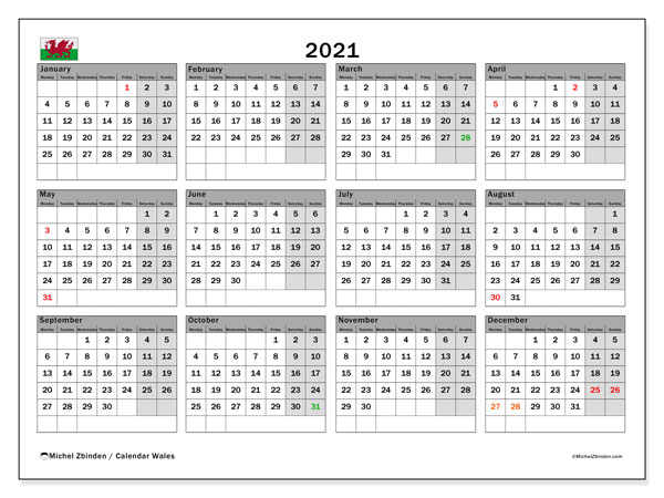 2021 Calendar, with the holidays of Wales. Holidays calendar to print free.