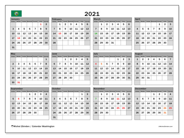 2021 Calendar, with the holidays of Washington. Free printable calendar with public holidays.