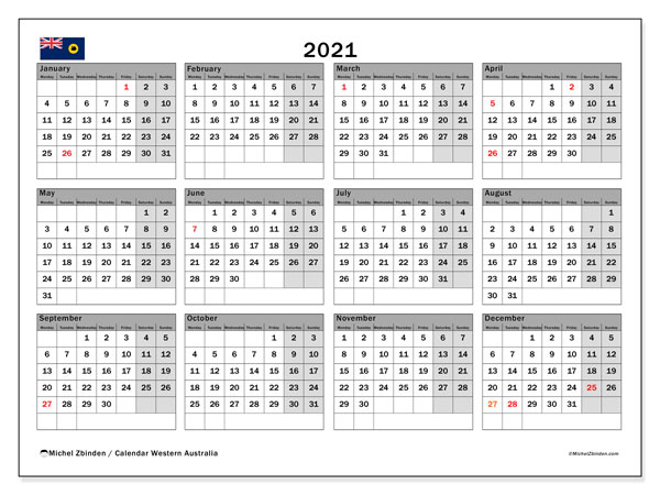 2021 Calendar, with the holidays of Western Australia. Holidays calendar to print free.
