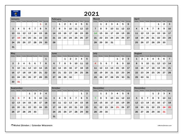 2021 Calendar, with the holidays of Wisconsin. Holidays calendar to print free.