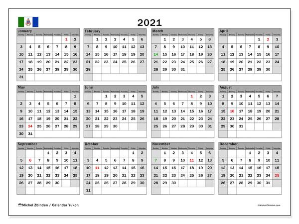 2021 Calendar, with the holidays of Yukon. Free printable calendar with public holidays.