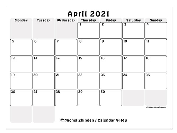 Printable calendar, April 2021, 44MS