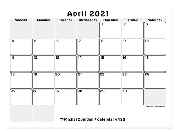April 2021 Calendar, 44SS. Free printable monthly calendar.