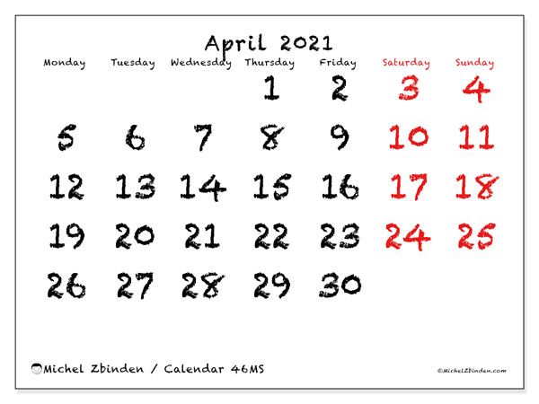 "Printable April 2021 calendar. Monthly calendar ""46MS"" and agenda to print free"