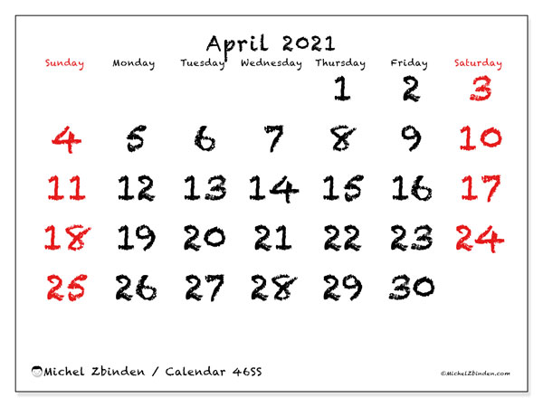 April 2021 Calendar, 46SS. Planner to print free.