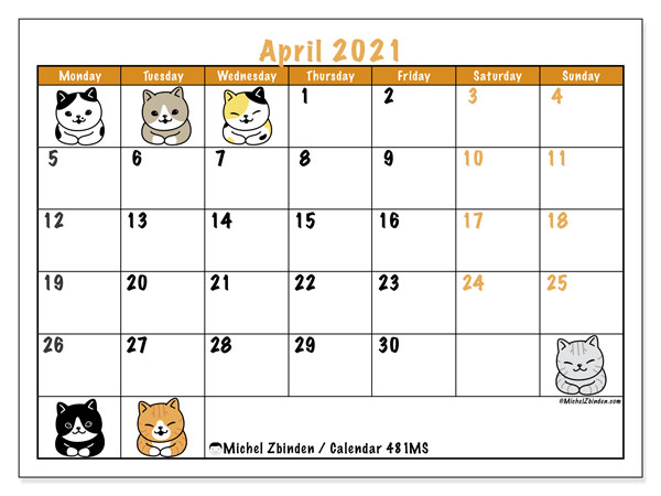 Printable calendar, April 2021, 481MS