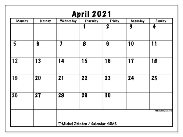 "Printable April 2021 ""48MS"" Calendar   Michel Zbinden EN"
