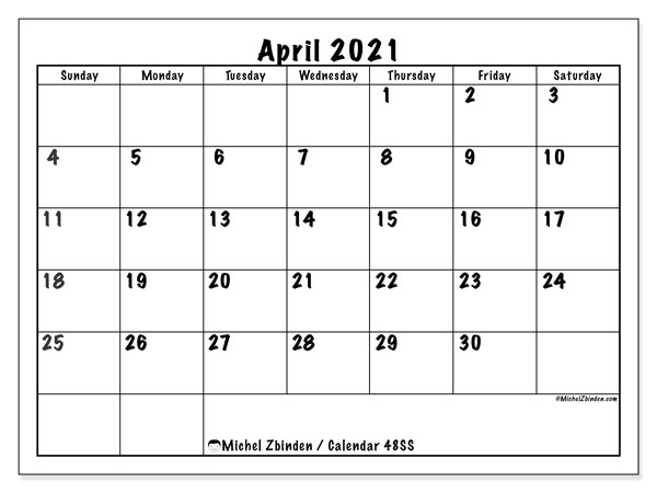 Calendar April 2021 - 48SS. Marker style. Monthly Calendar and free printable bullet journal.
